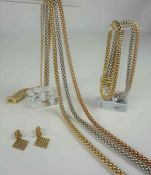 Suite of 18ct Tri-Gold Jewellery by Fope of Italy, Comprising of a yellow, rose and white gold