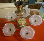 Gilt Metal Ceiling Light, Having five branches, with glass shades, 51cm high