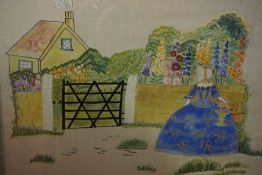 Needlepoint Tapestry, Depicting a female in blue dress at house, 42cm x 56cm, framed