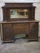 Oak Mirror Back Sideboard, circa late 19th / early 20th century, Having a mirrored section to the