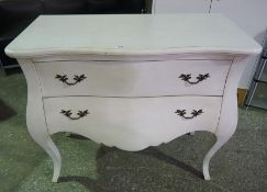 Modern Bombe Chest of Drawers, Having two drawers, 87cm high, 107cm wide, 54cm deep, also with a