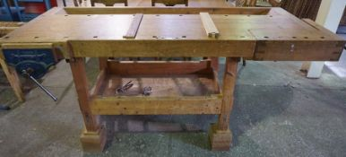 Cabinet Makers Work Bench, with attached vice by Record, 95cm high, 203cm wide, 77cm deep