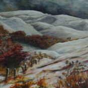 "Margaret Boyd (1920-1985) ""Scottish Borders Hill Scene"" Acrylic, signed lower right, 29cm x 29cm,"