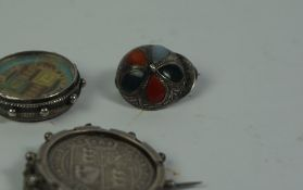 Victorian Jubilee Coin, Enamelled to reverse, mounted, also with a Victorian mounted silver