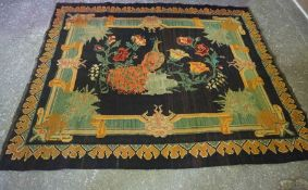 Old Turkish Kilim Rug, Decorated with peacocks in foliage on a black ground, 190cm x 160cm
