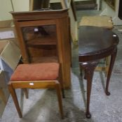 Mixed Lot of Furniture, To include a glazed corner cabinet, half moon table, oak occasional table