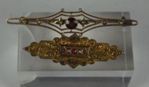 9ct Gold Ruby and Seed Pearl Brooch, circa late 19th / early 20th century, Set with three small