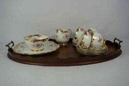 Part Royal Albert China Tea Service, 15 pieces, On an inlaid mahogany serving tray, (16)