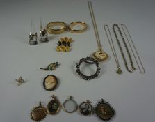 Mixed Lot of Decorative Jewellery, To include photo pendants, rings, cameo brooch, bangles etc