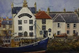 "John F Martin (1970-2006) ""Eyemouth Harbour"" Watercolour, signed and titled, 29cm x 41cm, framed"