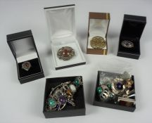 Collection of Silver Jewellery, To include a rose brooch, agate bracelet, Scottish sterling silver
