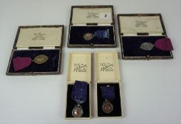 Five Scottish Dance Medals, To include two silver examples with gold cartouche, also a silver and