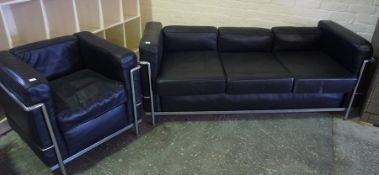 Black Leather Three Seater Sofa, 68cm high, 179cm wide, 70cm deep, with matching armchair, (2)