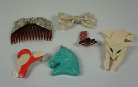 Four Decorative Brooches, Stamped Lea Stein - Paris, Two examples modelled as a fox and bow tie,