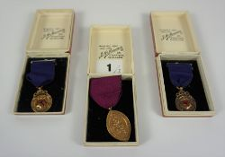 Three 9ct Gold Scottish Dance Medals, Decorated with enamel and embossed lion rampant to obverse, to