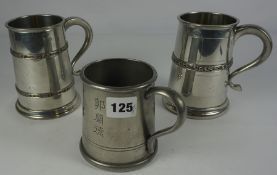 Quantity of Silver Plated and Pewter Tankards, Also with metal and glass examples, to include a