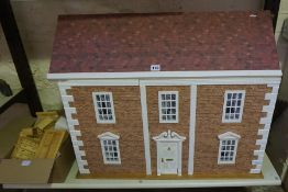 Large Dolls House, Enclosing six rooms, with a quantity of dolls furniture