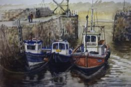 "John F Martin (1970-2006) ""Fishing Boats, Crail Harbour"" Watercolour, signed and titled, 28cm x 36."