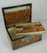 Victorian Walnut Sewing Box, Having a mother of pearl and abalone shell panel to the top and frieze,