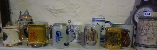 Quantity of Pottery Beer Steins and Tankards, To include German examples, (16)