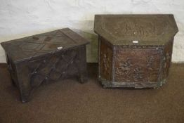 Brass Coal Box, 50cm high, 60cm wide, 39cm deep, also with another coal box, (2)