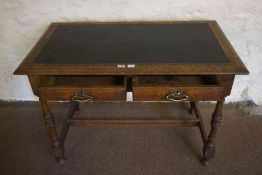 Oak Writing Table, circa late 19th / early 20th century, Having two drawers, raised on turned