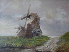 "Anne Cooper (20th Century) ""Windmills"" Watercolour, signed lower right, 21.5cm x 29cm, also with """