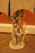 Large Lladro Porcelain Figural Table Lamp, Modelled as a clown and a ballerina standing next to a