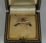 15ct Gold Ruby and Diamond Ladies Ring, circa late 19th / early 20th century, Set with small ruby