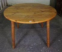 Pine Circular Table, 74cm high, 103cm wide