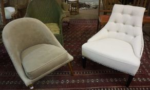 Two Modern Chairs, Upholstered in cream button back fabric, and velour, 74cm, 81cm high, (2)
