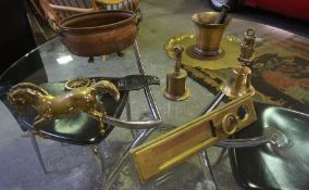 Quantity of Brass and Gilt Metal Wares, To include horse brasses, bells, door plate, mortar and