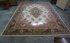 Kashmir Machine Made Carpet, Decorated with floral medallions and motifs on a cream ground, 335cm