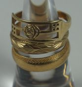 Three 9ct Gold Ladies Rings, All gold bands, stamped 375, gross weight 9 grams, (3)