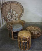 Woven Wicker High Back Chair, 140cm high, also with a wicker stool and a bamboo stool, (3)