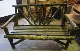 Naturalistic Wooden Garden Bench, 88cm high, 140cm wide
