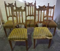 Set of Four Arts & Crafts Oak Dining Chairs, 113cm high, Also with a similar Arts & Crafts oak