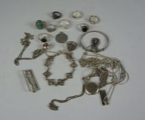 Quantity of Silver Jewellery, To include rings, locket, pendants, chains etc, gross weight