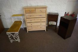 Small Mixed Lot of Furniture, Comprising of a modern chest of drawers, two bedside cabinets, and a