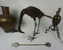 Mixed Lot of Brass and Metalwares, To include a metal figure of a peacock, brass top table, hammered