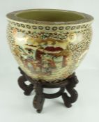 Satsuma Syle Porcelain Fish Bowl, Decorated with panels of figures and fish, stamped Satsuma style