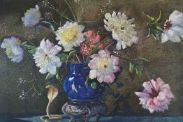 """James Gray (Scottish) Exh 1917-1947 """"Still Life with Peonies"""" Watercolour, circa 1930, signed Jas"""