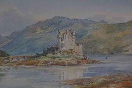 "Frank Watson Wood (British 1900-1985) ""Eilean Donan Castle"" Watercolour, signed Watson Wood to lower"