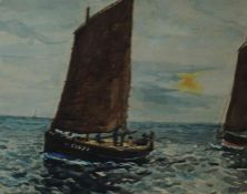 """John Chambers (British 1852-1928) """"Storm King off Shields Harbour"""" Watercolour, unsigned,"""