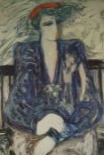"""Barbara A Wood """"Female Portrait"""" Signed Limited Edition Print, signed in pencil, no 318 of 415, 76cm"""