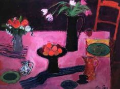 """Ann Oram RSW (Scottish, B.1956) """"Still Life On A Pink Table"""" acrylic on gesso board, signed to lower"""