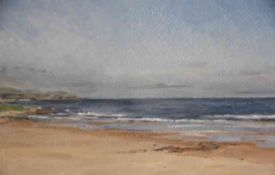"""Louisa Trotter (British, B.1982) """"Cheswick Beach"""", oil on board, signed and dated '19 to lower"""
