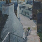 """John Nicholson N.D.D (British, B.1944) """"Steps"""", oil on canvas, signed to lower left, titled in"""