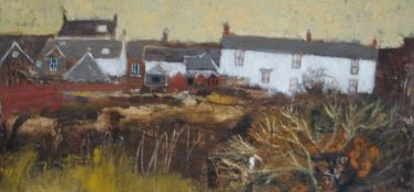 """Helen Tabor (British, B.1960) """"Back of the Village"""", oil on board, signed to lower left, artist"""