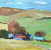 """Andrew Binnie (British, B.1935) """"Cheviot Hill Farm"""" oil on canvas, signed to lower left, 36cm x 36cm"""